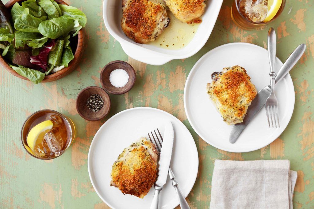 Chicken Thighs with Idahoan Potato Parmesan Crust
